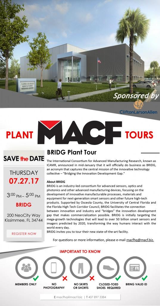 BRIDG Plant Tour Invite - April 2017 - CLA Logo