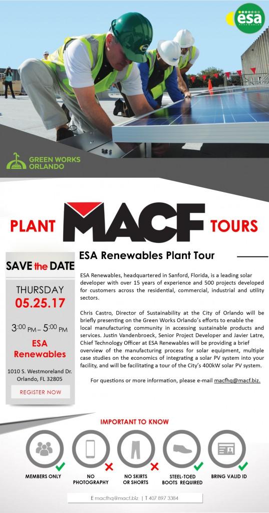 ESA Renewables Plant Tour Invite - May 2017